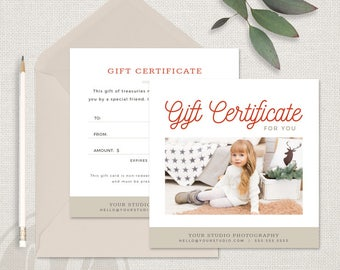 Holiday Gift Certificate Template - Holiday Photography Gift Certificate Template, Instant Download, Printable Gift Certificate