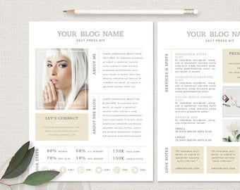 Media kit template etsy media kit template blogger media kit press kit template ad rate sheet pronofoot35fo Image collections