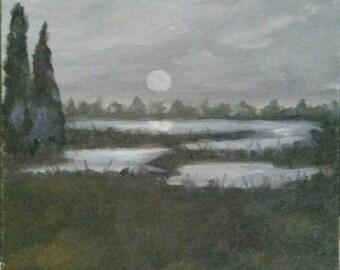 Marsh Nocturne - Oil Painting