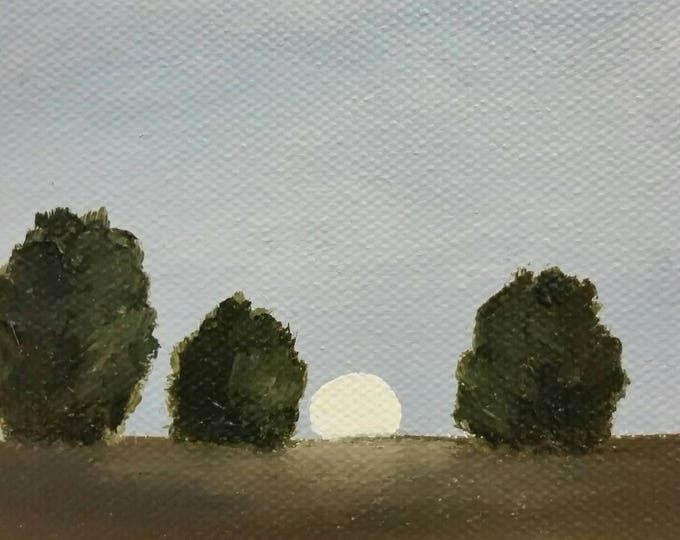Late Summer Moonrise - Oil Painting