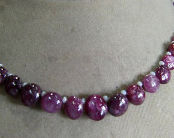 1 Strand  Indian Ruby star   Natural  beads 18, grams 5X7, 9X11, MM
