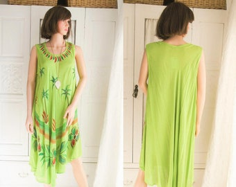 Unworn Hand embroidered Indian Dress Lime green Indian dress  Boho dress Hippie dress Festival Beach dress Free size Indian dress
