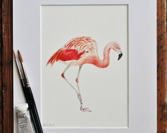 Flamingo Watercolour Painting Picture - Pink Water Bird - Mounted Giclee print - Nature Art Poster - Picture and gift for the home