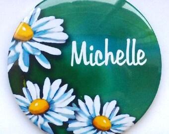 "Purse or Pocket Mirror, 3.5"", Custom Name, Personalized Mirror, Daisies, Flowers, Handy Mirror in Pretty Organza Bag, Gift Idea"