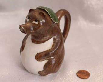 Beautiful Soy Sauce Pot Raccoon with Green hat  Made in Japan Animal Figurine
