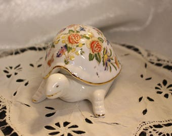 Vintage Porcelain Turtle Trinket Box Aynsley Cottage Garden Made in England