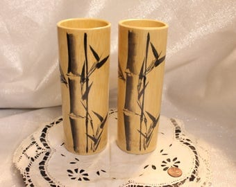 Vintage Set of Six Bamboo Mugs with a Bamboo Design (Only two shown)
