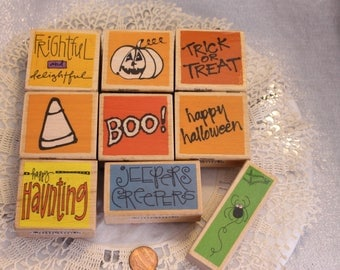 Halloween Mix Lot of rubber Stamps Set of Nine Wood Stamp for Scrapbooking or Card Making Altered Art