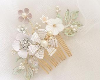 Bridal comb, Pearl Wedding Comb, Hair Accessory, gold, green, Blush Floral Headpiece