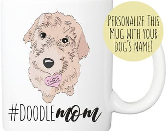 """Golden Doodle Mug // """"Doodle Mom"""" with custom name tag // Dog lover Personalized Gifts"""