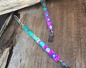 extra long purple turquoise plank earrings, shoulder earrings, hand painted ink earrings, Mother's Day gift, gift for her artisan earrings