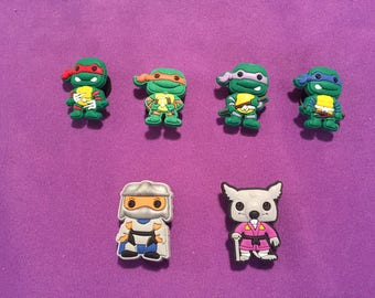 6-pc Teenage Mutant Ninja Turtles Shoe Charms for Crocs, Silicone Bracelet Charms, Party Favors, Jibbitz