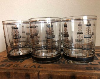 Rare Culver Oil Rig Double Old Fashioned Glasses - Set of 6