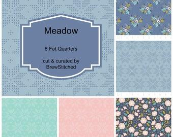Woodland Bundle - Forest Fabric Bundle - Woodland Fabric - Fabric by the yard - Fat Quarter Bundle - Blue Floral Fabric - 5 Fat Quarters
