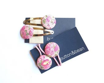 Liberty of London pink Tatum fabric covered button hair ties and snap clips set.  23mm buttons.