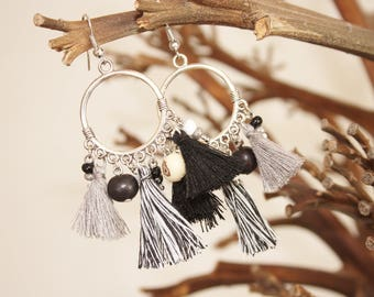 "Ethnic earrings ""Zulu"" black, grey & white"