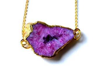 Purple Necklace - Gold Druzy Necklace - Pink Druzy Necklace - Crystal Necklace - Geode Necklace - Drusy Pendant - Gemstone Necklace
