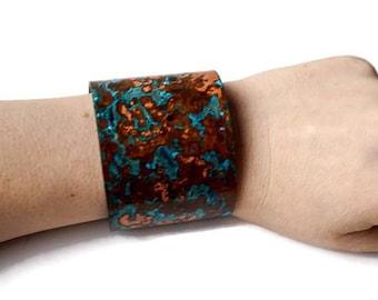 Wide Copper Patina Cuff Bracelet, Copper Bracelet, Turquoise Bracelet, Ocean Bracelet, Rustic Copper Cuff