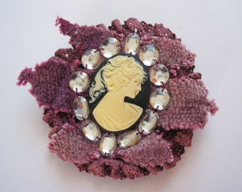 Cameo pattern background chenille trim and lace old rose brooch, rhinestone