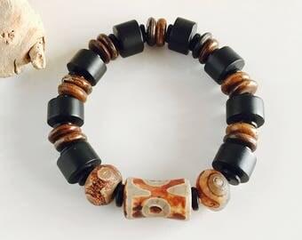 Genuine Black Onyx Horn and Tibetan Agate Men's Stretch Bracelet