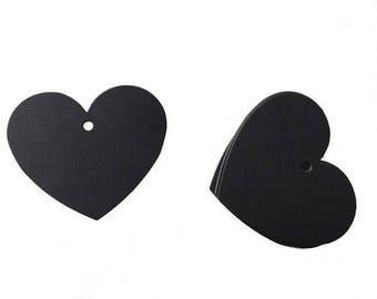 Set of 10 Kraft heart - black