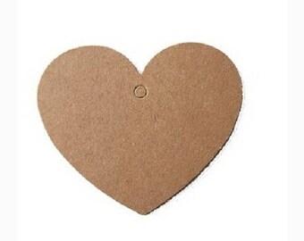 Set of 10 Kraft heart - Brown