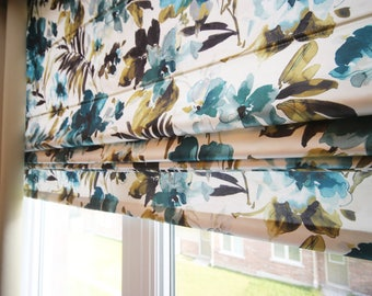 "Flat Roman Shade ""Modesto Retreat"" with Chain Mechanism, Roman Shades, Window Treatment, Custom Made"