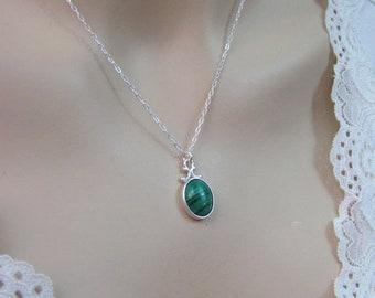 Malachite Necklace in Sterling Silver, Malachite Pendant, May Birthstone Jewelry, 12x10mm African Malachite Gemstone, Green Necklace