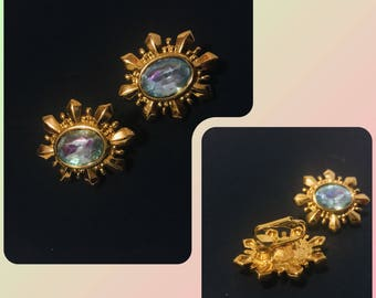 Vintage -Blue AB rhinestone- Gold-Tone Clip On earrings