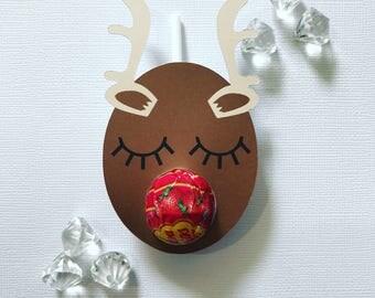 Sleepy reindeer lollipop holders