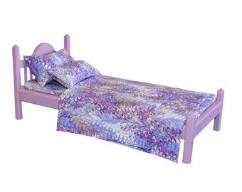 """American Girl bed, Lavender AG bed, AG doll Furniture, 18 inch doll furniture, 18"""" doll bed, 18 inch doll bed, 18"""" bed, doll bed, wood bed"""