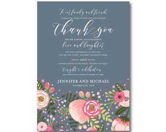 Floral Wedding Thank You Note, Boho Wedding, Boho Chic, Chic Wedding, Boho Thank You, Thank You Note, Wedding Thanks, Thank You Card #CL126