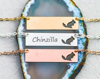 Chinchilla Gift Exotic Pet Necklace • Rose Gold Filled Necklace Pet Gift Personalize Animal Cute Pet Unique Jewelry Animal Gift Custom Pet