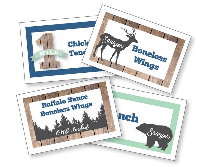 Wild One Birthday - Food, Name, Tent Cards or Labels - Customized Printable DIY Place Cards