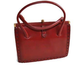 1960's Red Freedex Handbag // Vintage Red Leather Handbag Top Handle Bag // Made in Ireland // Kelly Bag