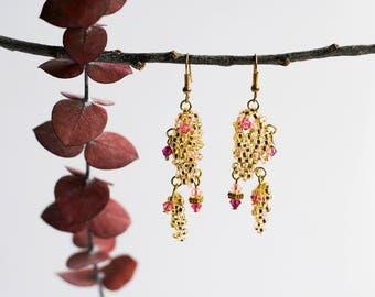 Gold and rose beaded chandalier earrings