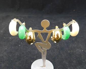 """Vintage KJL Kenneth J Lane Interchangeable Plastic Hoop Post Earrings - 3/4"""" - Gold, White, Green, Designer Signed, Authentic, Cream, Jade"""