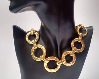 YSL Yves Saint Laurent Vintage Gold Tone Necklace. French designer jewellery.