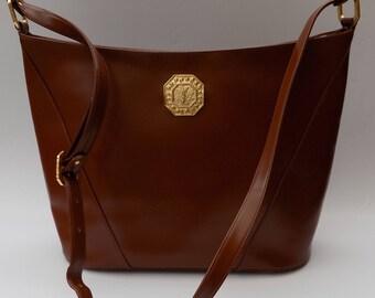 YSL Bag. Yves Saint Laurent Vintage Light Brawn / Tan  Leather Shoulder Bag  . French designer purse.