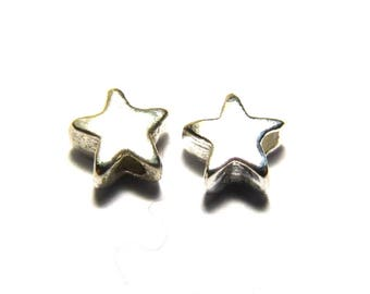 5 pc. Solid Small Sterling Silver Star Beads 5 mm
