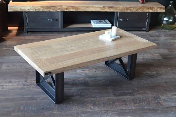 Table basse bois blanchi acier style industriel sur mesure - Table design sur mesure ...
