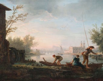 Claude-Joseph Vernet: The Four Times of Day - Morning. Fine Art Print/Poster (004507)
