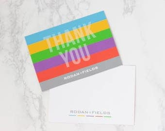Rodan and Fields Thank You Cards, Double Sided, Rodan and Fields Independent Consultant, R+F Thank You Note Cards with White Envelopes