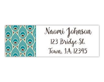 Return address label, peacock print, personalized return label, custom address label, envelope label, mailing address label