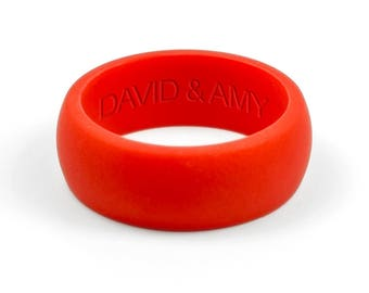 Personalized Silicone Ring - Red Mens Silicone Wedding Band Safe Ring Gift for Men Gift For Him Gift For Husband Gift Personalized