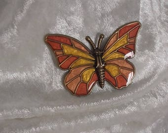 handmade metal bronze red coral sunny gold ochre Butterfly embellishment