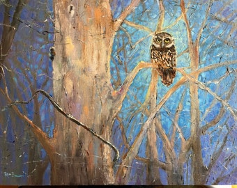 Owl Painting, Moonlight Painting, Night Woods Landscape, Art for Bird Lovers