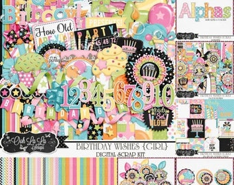 On Sale 50% Off Birthday Wishes Girl Digital Scrapbook Kit Bundle