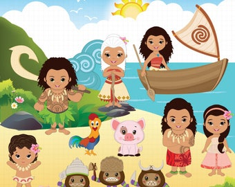 Moana clipart, Polynesian Princess clipart, Fairytale clipart, Cute Princess clipart, Fairy tale clipart