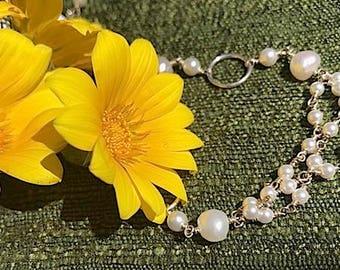 Handmade Sterling Silver Wire & Pearl Bracelet